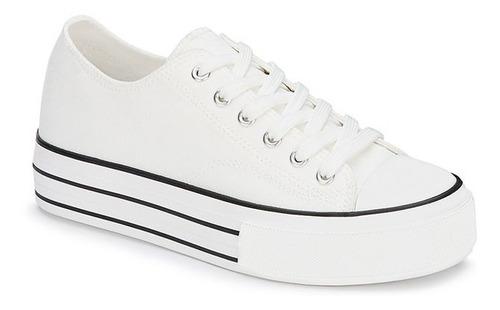 Imagen 1 de 5 de Tenis Andrea Sneaker Plataforma Dama Alta Comodo Blanco