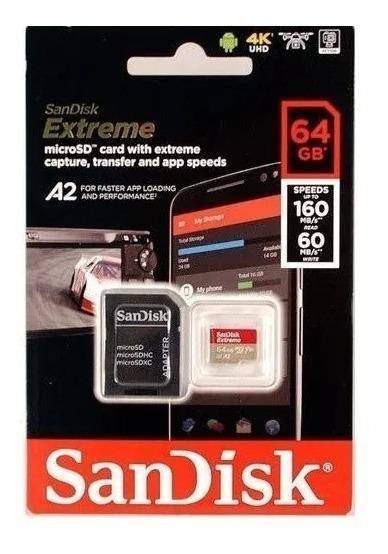 Cartão Memória Sandisk Extreme Micro Sd 64gb 160mb/s Lacrado Original Gopro Hero Drone 4k Samsung Galaxy LG Tablet LG