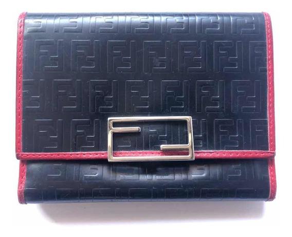 Billetera Fendi Monogram Negra Y Rojo