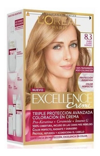 Kit Tintura Excellence Creme Color 8.3 Rubio Claro Dorado