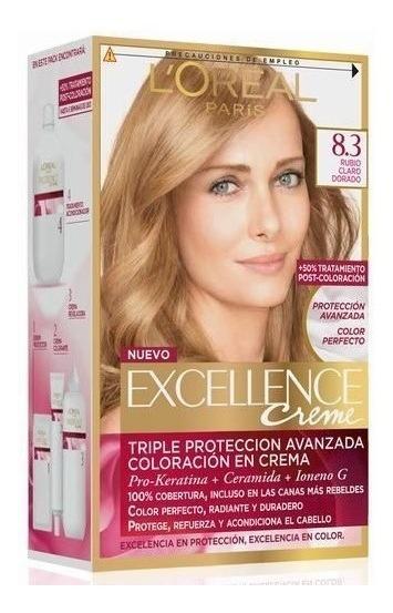 Kit Tintura Excellence Creme Color 8.3 Rubio Claro Dorado