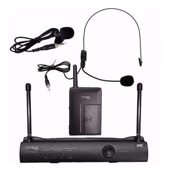 Microfone Sem Fio Headset E Lapela Tag Sound Tm559hsl Tagima