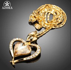 Colar Feminino Ouro Pingente Coração Pedras Cristal Austríac