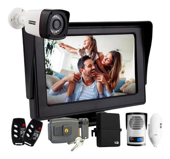 Kit Porteiro Eletrônico Vídeo Monitor + Fechadura Controle