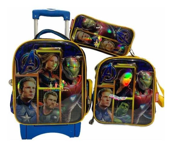 Avengers Endgame Kit Mochila 6d Carro Lonch Lapi Kinder
