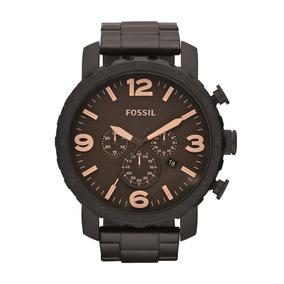Relógio Masculino Fossil Nate Jr1356/4mn 50mm Aço Preto