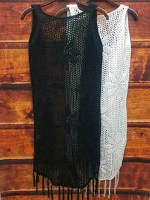 Colete Tricot Saída De Praia Kimono Crochê Franja Verão 4014
