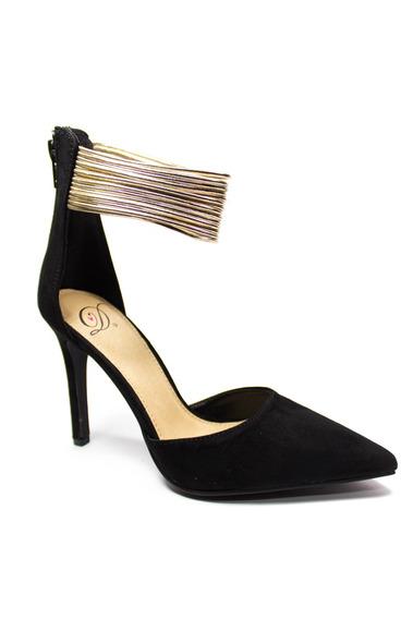 Zapato Negro Y Dorado Gamuza De Tacon Importadas Para Damas