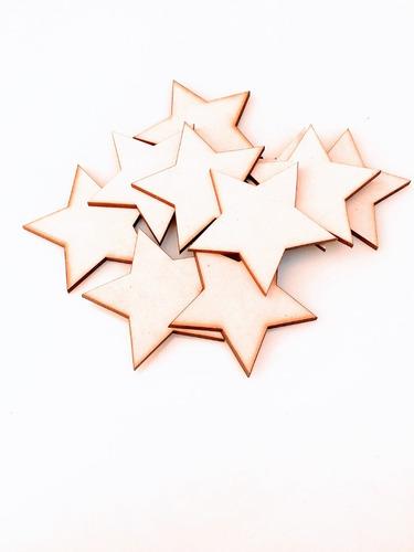 Imagen 1 de 6 de Kit Estrellas X 50u - 8cm - Mdf / Fibrofacil