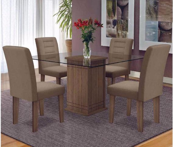 Sala De Jantar Mesa Cozinha 4 Cadeiras Vega