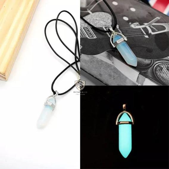Kit 2 Colar Pedra Da Lua Colar Pedra Brilha No Escuro Hippie