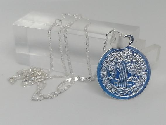Medalla Dije San Benito Y Cadena De Plata Fina Ley 925
