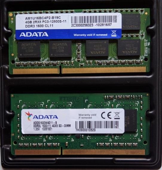 Memorias Notebook Ddr3l 4gb, Low Voltage, 1.35v Sodimm