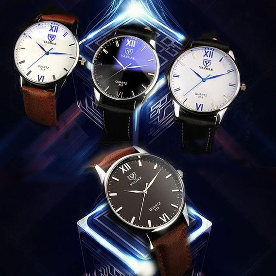 Relógio Barato Masculino Yazole 318 Kit 4 Unds Frete Grátis