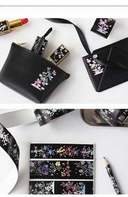 Washi Tape Fita Decorativa Preta Japonês Floral Holografico