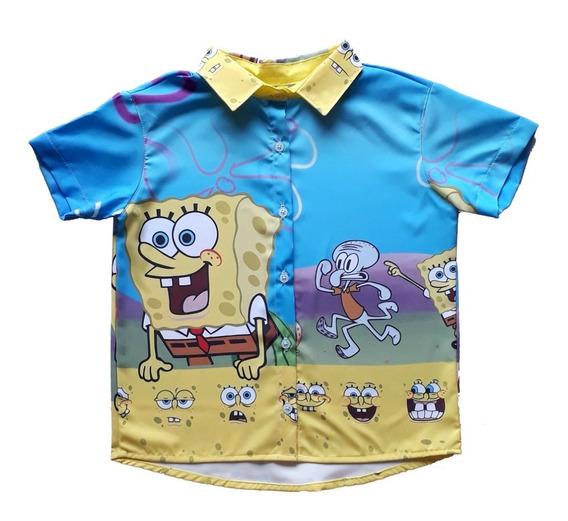 Kit Família Bob Esponja Infantil Vestido E Camisas
