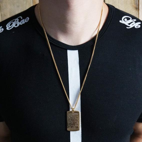 Cordão Corrente Masculino A Ouro Banho Zamac 60cm