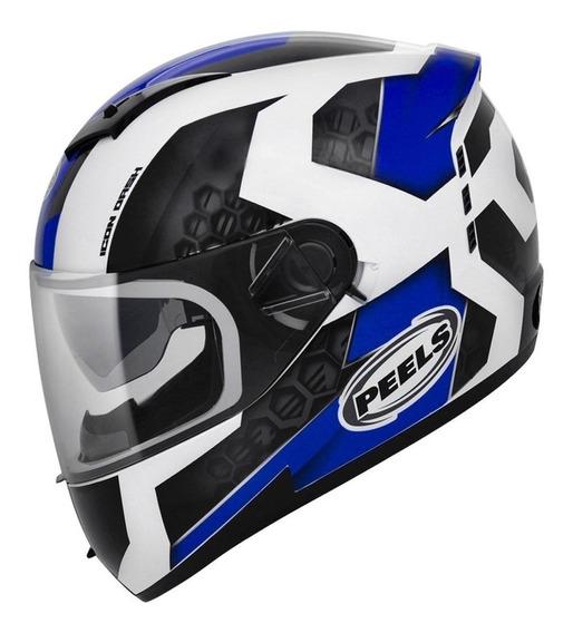 Capacete para moto Peels Icon Dash branco/azulL
