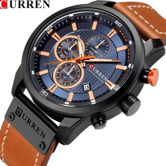 Relógio Curren Esportivo Original Cronografo Couro C.114