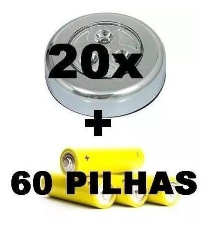 Kit 60 Pilhas Tipo Aaa + 20 Lampadas Luminarias Sem Fios Led