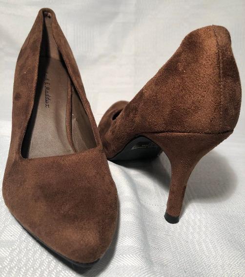 Zapatos De Taco Eco Cuero Y Gamuza Marron