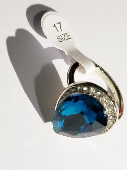 Anel De Festa Modelo Gota Pedra Azul Tamanho 17