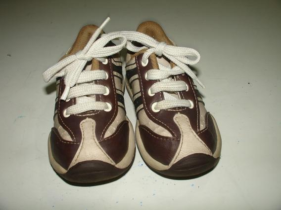 Menino Sapato Sapatenis Marrom Cadarço Pecompe Tamanho 24