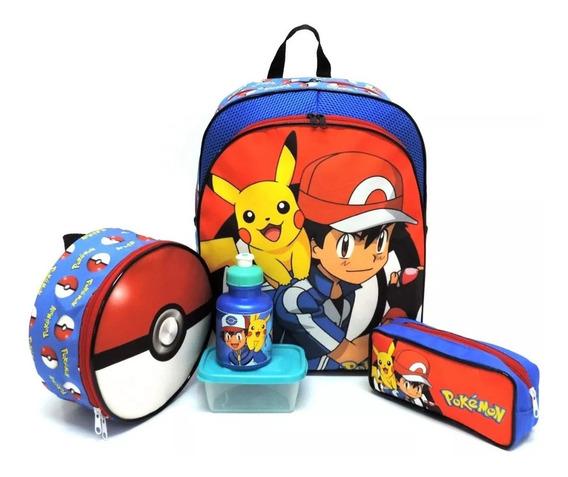 Kit Mochila Infantil Escolar Pokemon Costas Pikachu G F5