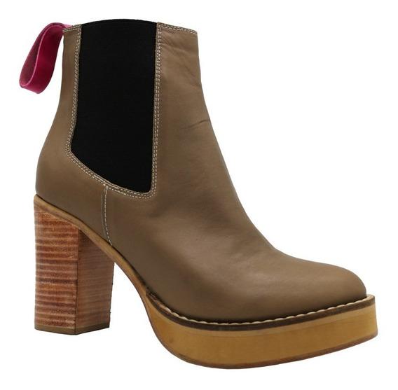 Zapatos Botas Botinetas Mujer Cuero Vison Taco Leblu 847