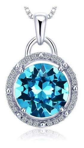Pendiente Cristal Azul En Plata Esterlina Cadenita Joyas