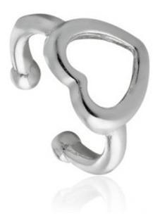 Piercing De Prata 925 Pressão Coração Vazado