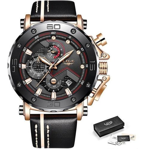 Relógio Masculino Original  Lige Pulseira De Couro