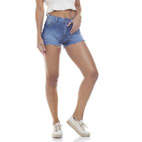 Shorts Feminino Pin Up Com Bigodes Denim Zero-dz6274
