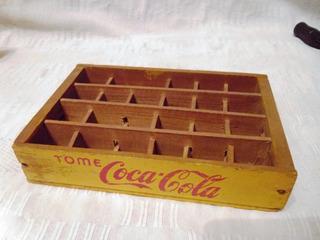 Antiguo Cajoncito Vacio Miniatura De Madera De Coca Cola