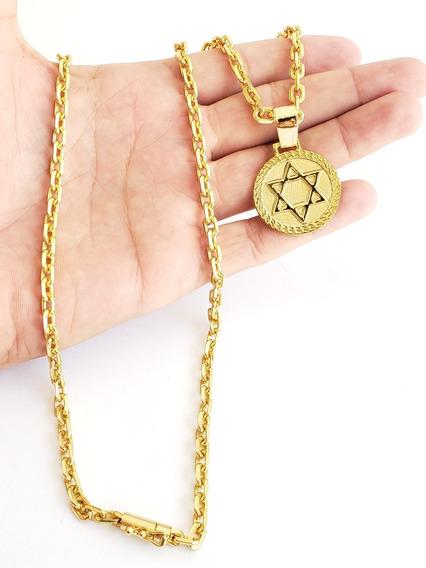 Cordão Cadeado 5mm Pingente Estrela Davi Banhado A Ouro 18k