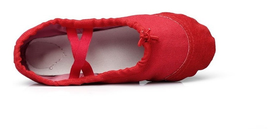 Zapatillas Rojas Ballet Gimnasia Niñas Flexibles Color Rojo