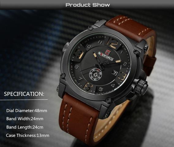 Relógio Masculino Pulseira Couro Esportivo Militar Importado