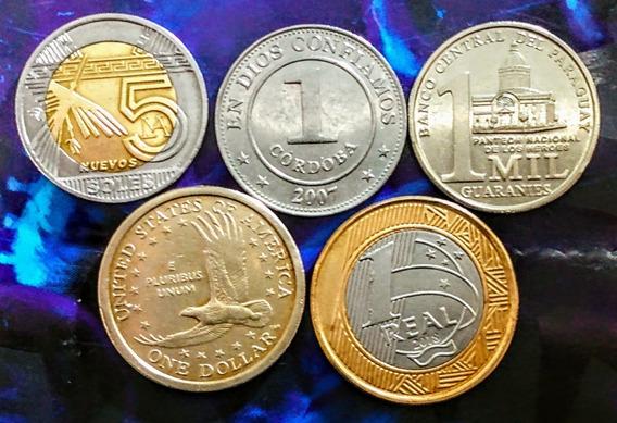 Monedas América 12 Nicaragua, Usa Y Otros Países