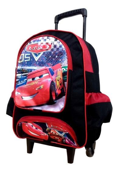 Mochila Escolar Infantil Carros Macqueen Com Rodinhas Tam G