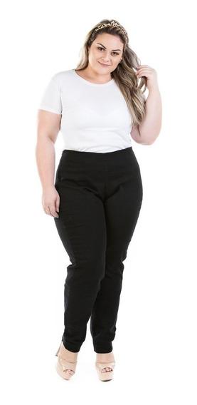 Calça Jeans Legging Com Zíper Lateral Plus Size Crj354