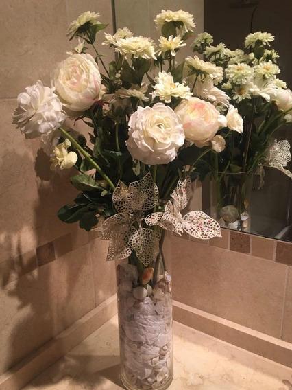 Floreros Con Flores Artificiales Adornos Y Decoración Del
