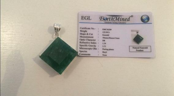 Certificada. Pingente Gigante Esmeralda 122.50 Cts