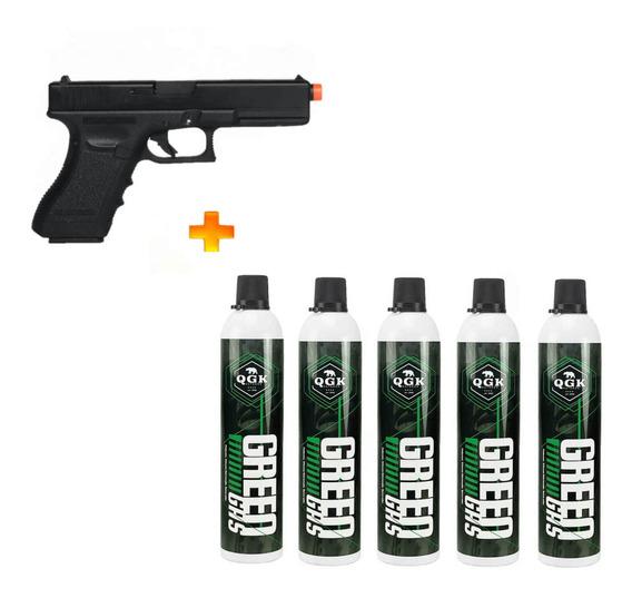 Pistola De Airsoft À Gás Gbb G17 Blowback 6mm + 5 Green Gas