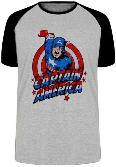 Camiseta Luxo Capitão América Cartoon Marvel Vingadores