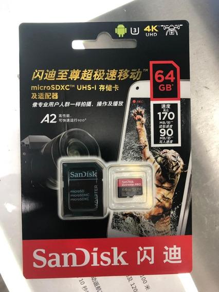 Cartão Memória Sandisk Extreme Pro Micro Sdxc 64gb 170mbs A2