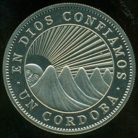 Nicaragua Moneda Níquel Un Cordoba 1972 Acuñación Proof Rara