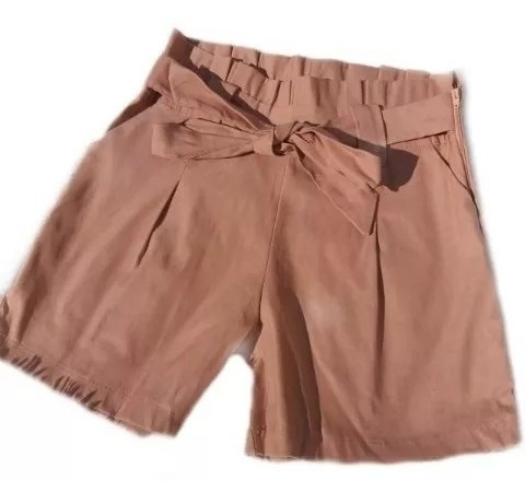 Shorts Feminino Cintura Alta Laço Bengaline Shortinho Short