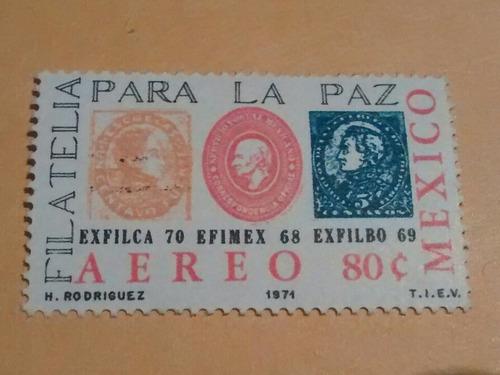 Imagen 1 de 1 de Timbre Postal Filatelia Por La Paz Mexico 1972 Nuevo