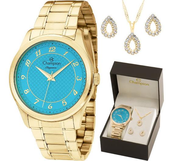 Relógio Champion Feminino Dourado Fundo Azul + Kit