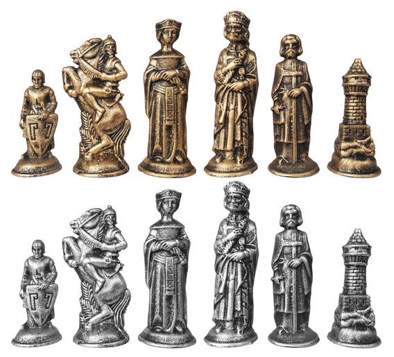 Jogo De Xadrez Peças Coleção Medieval Tematico De Resina